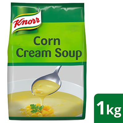 Knorr Cream of Corn Soup Mix 1kg - Made with real ingredients, Knorr Cream of Corn is a high quality base that help minimize your food costs.
