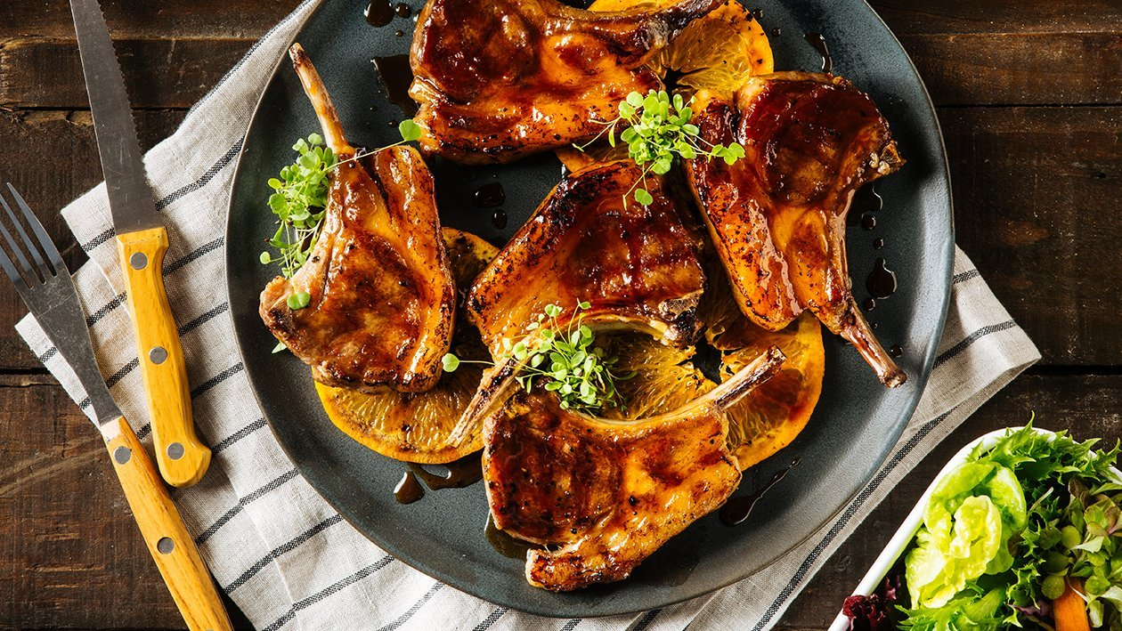 Grilled Lamb Chops with Orange Honey Sauce